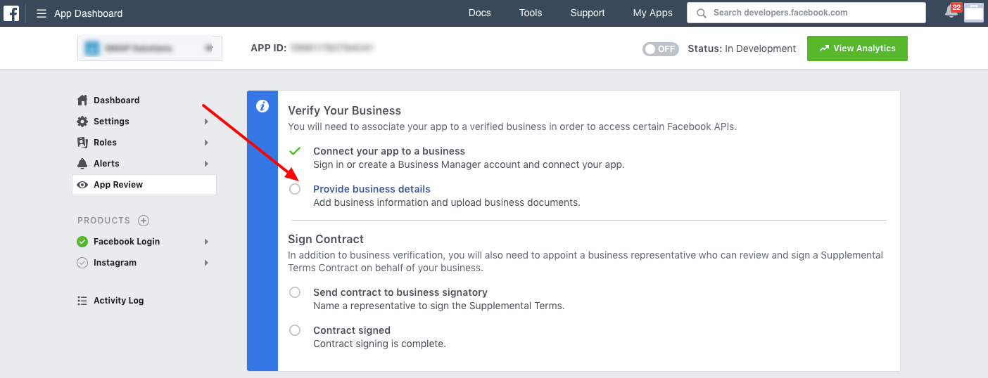 How can I submit the business details to facebook for app
