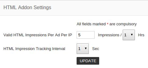 HTML addon settings