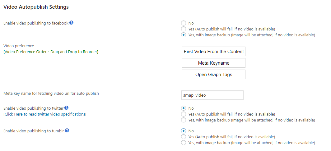 Video Autopublish settings