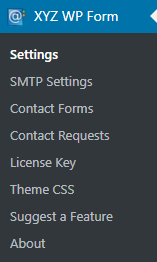 XYZ WP Form - Menu