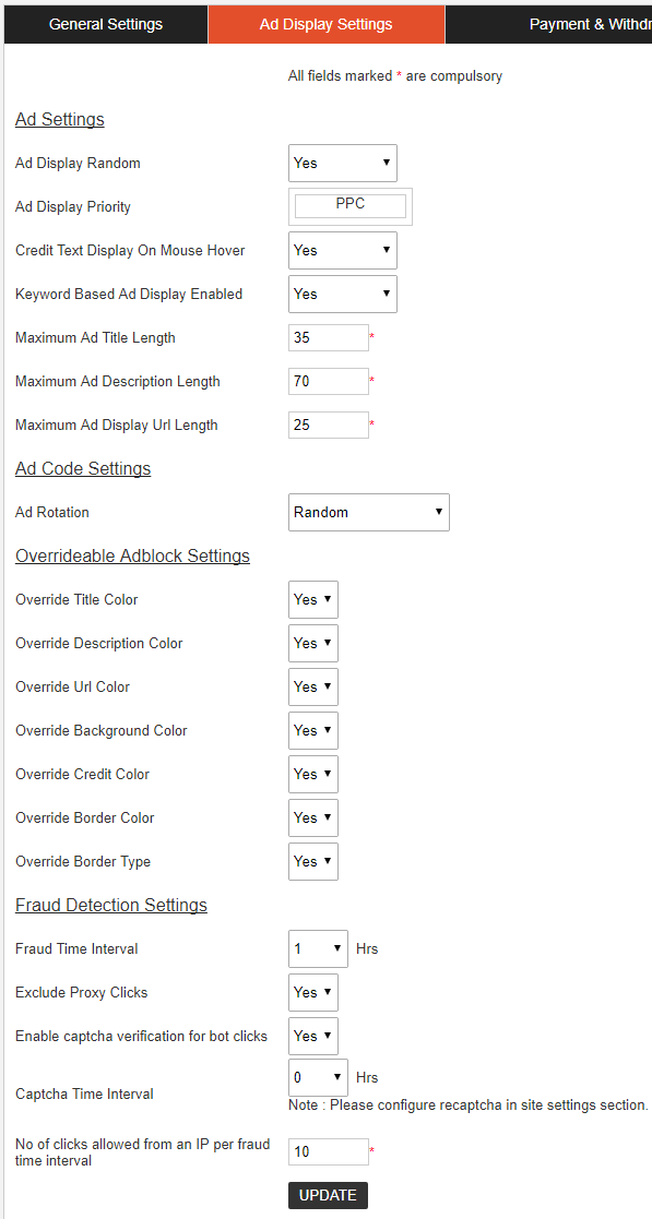 ad display settings