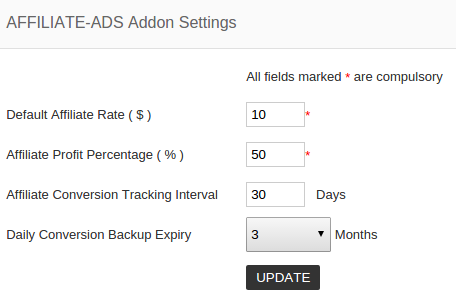 affiliate ads addon settings
