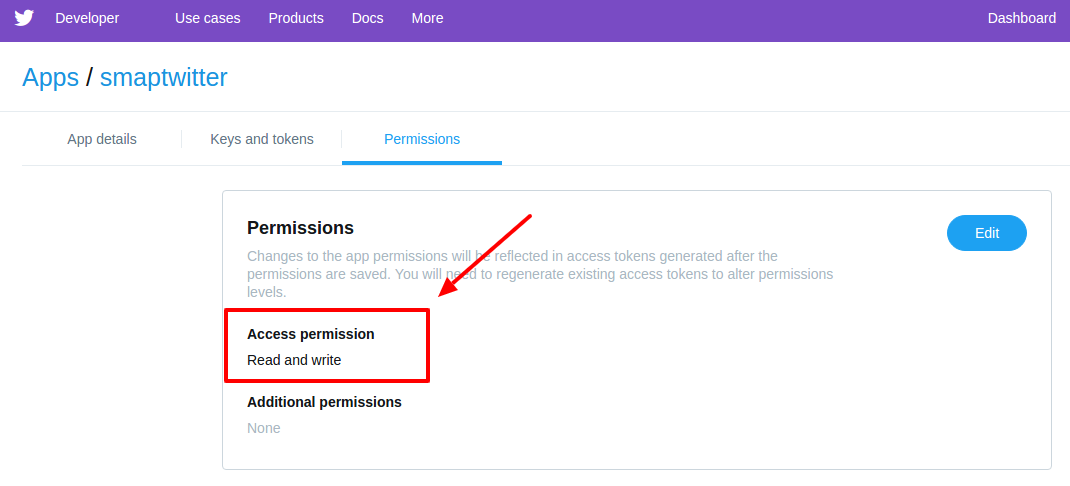 app-permission-Twitter Developers
