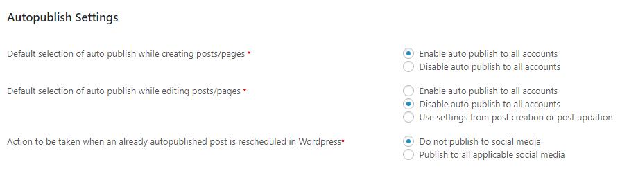 auto publish settings