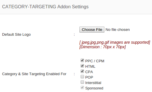 category targeting addon setting
