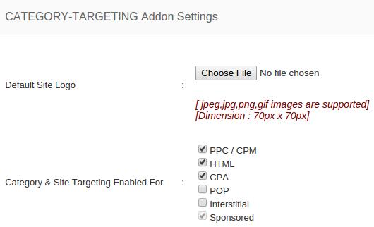 category targeting addon setting