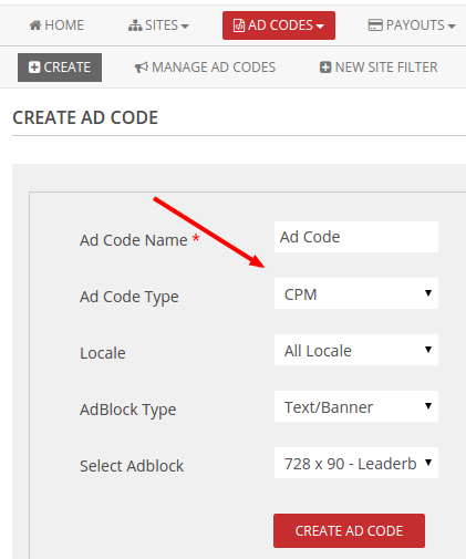 cpm adcode type