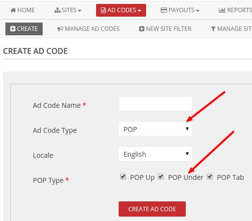 create popads adcode