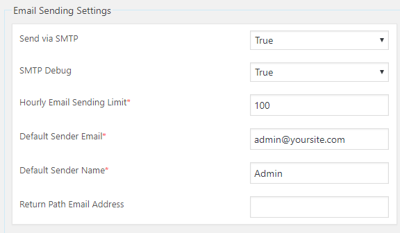 email sending settings