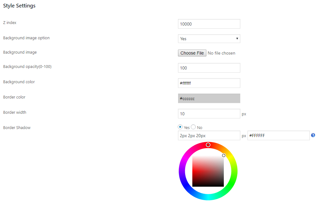 full screen style settings