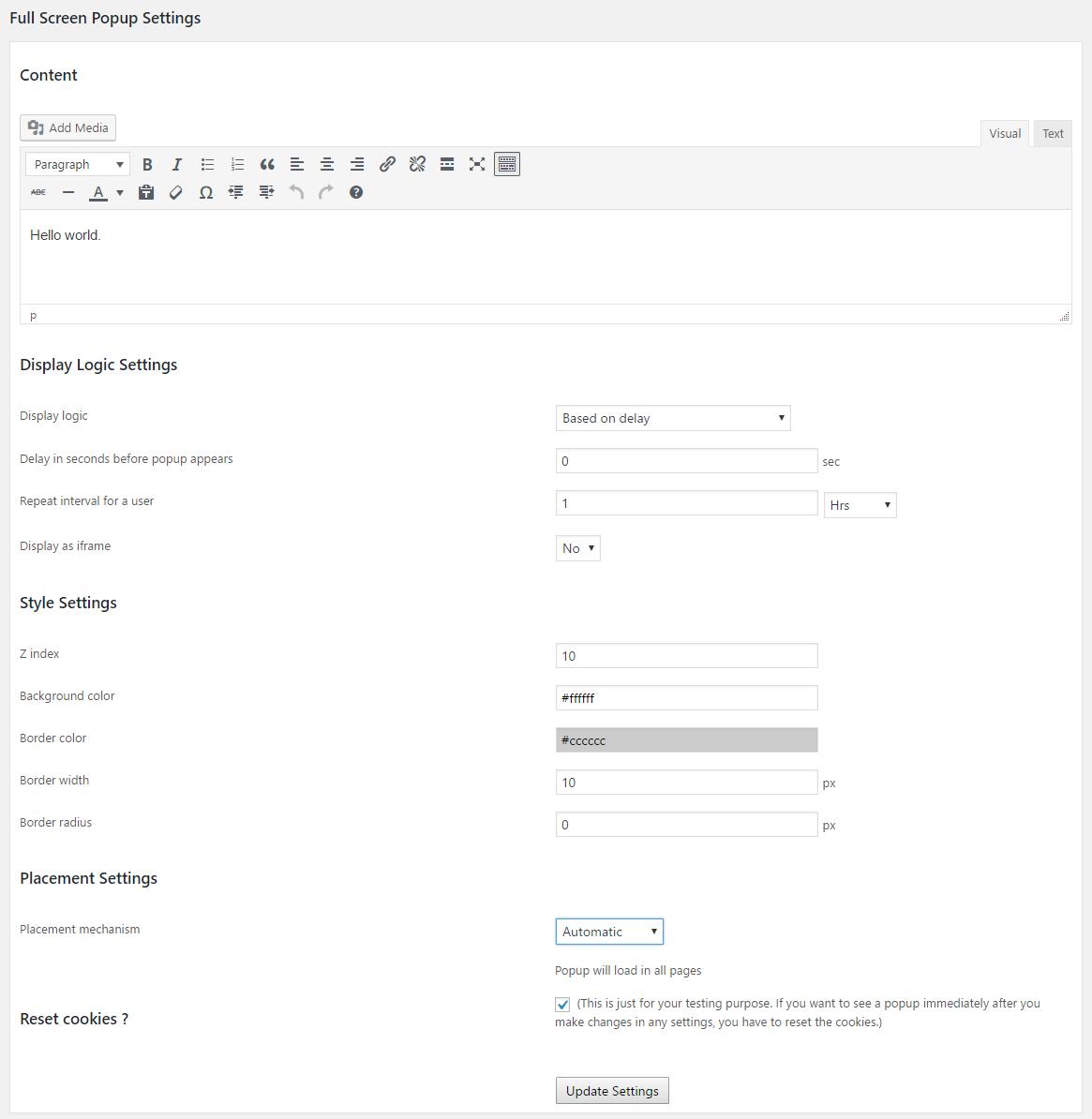 fullscreen popup settings
