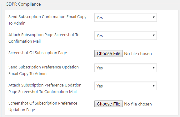 gdpr compliance settings