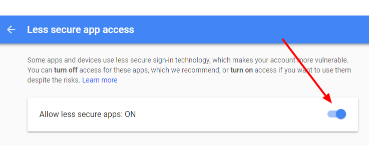 less secure apps ON