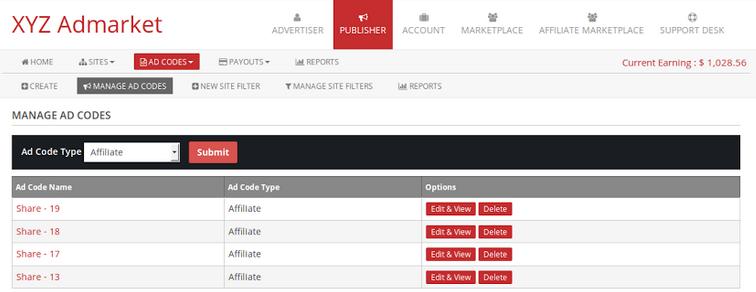 manage affiliate adcode