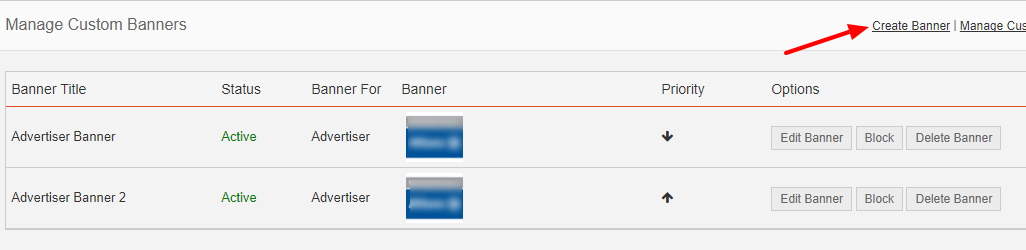 manage custom banners