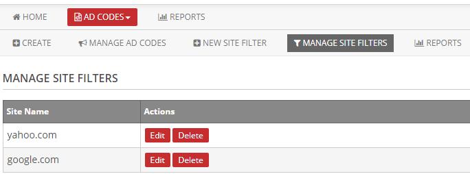 manage site filters