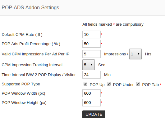 popads addon settings