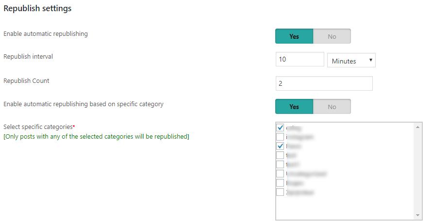 republish settings