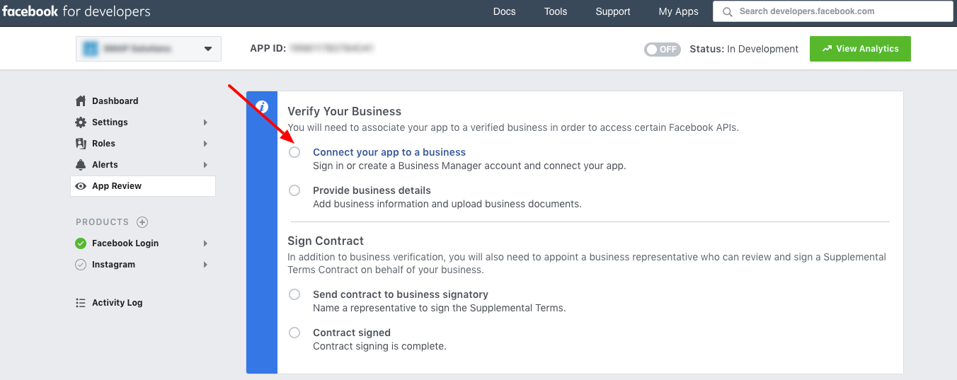 verify business - connect app to business