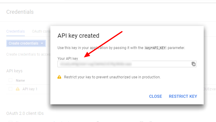 api key generated