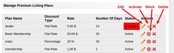 manage premium listing plans