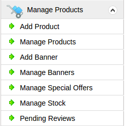 manage products menu