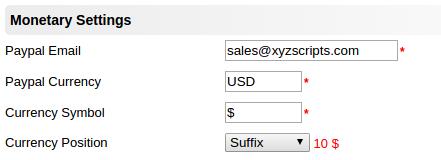 monetary settings