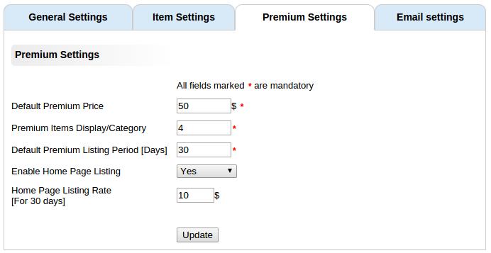 premium settings