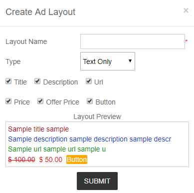 create ad layout - text only