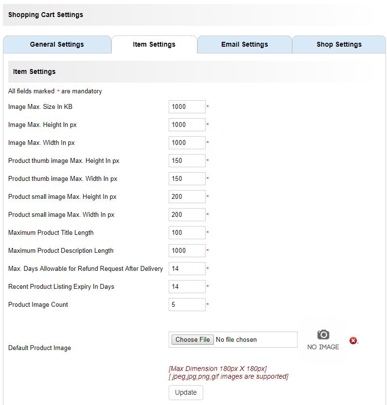 item settings