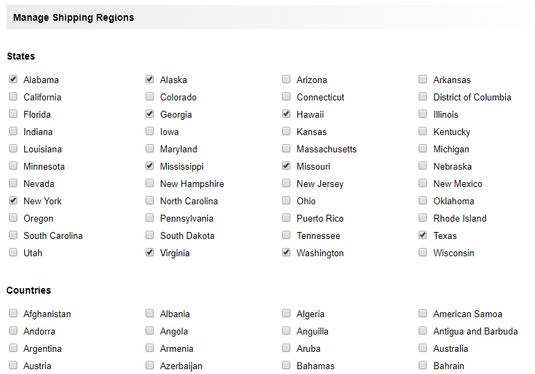 manage shipping regions