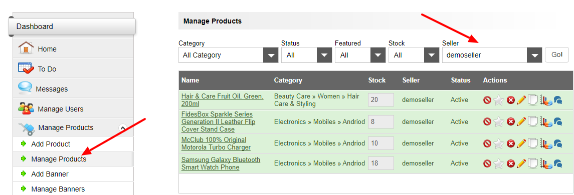 manage seller products