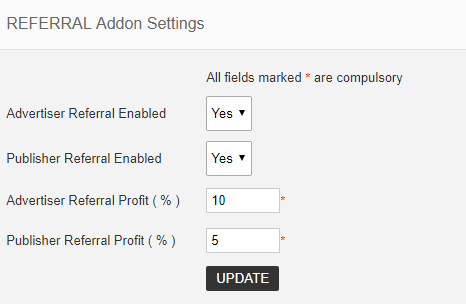 referral addon settings
