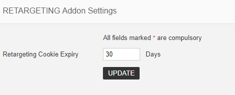 retargeting addon settings