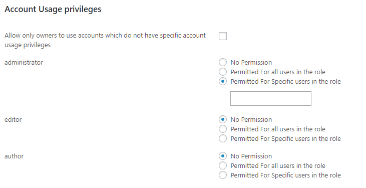 Account Usage Privileges