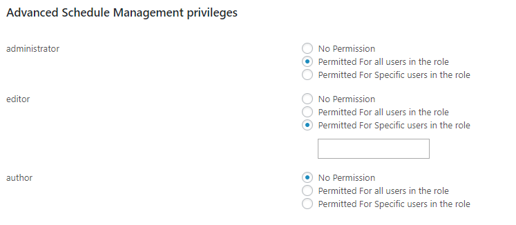 Advanced Schedule Management privileges