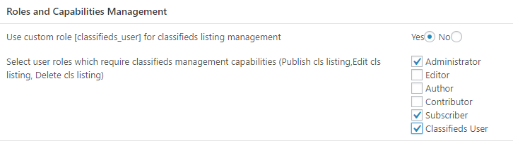 Roles and Capabilities Management