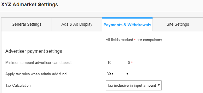 advertiser payment settings