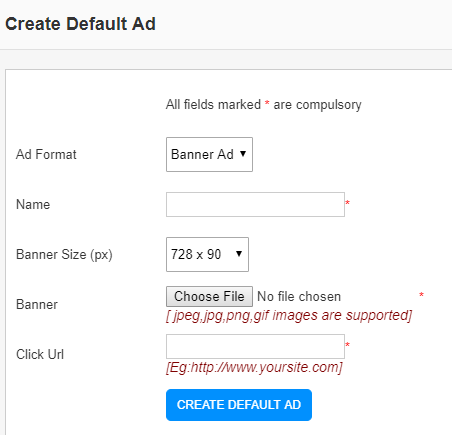 create default banner ad