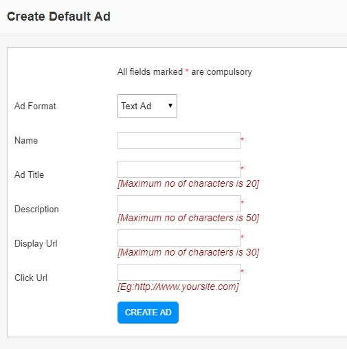 create default text ad