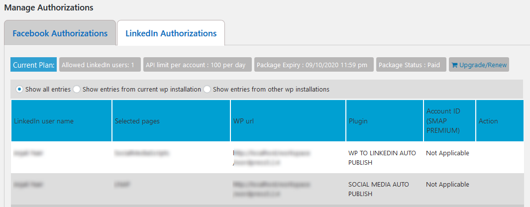 Linkedin Authorizations