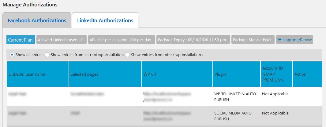 Linkedin Authorizations
